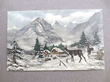 ANTIQUE Postcard NEW YEAR French Greeting Snowy Mountains Chalets  V K VIENNE