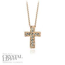 SPARKLE CROSS Swarovski Elements Crystal 18-KRGP Gold Plated Necklaces
