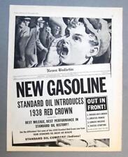 Original 1937 Standard Oil Ad ANNOUNCING 1938 RED CROWN GASOLINE!