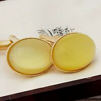 Vintage Vibrant 1950s Yellow Moonglow Glass - Oval Gold Plated Cufflinks