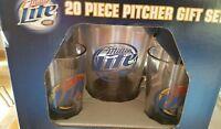Miller Lite Beer 20 Piece Mug Gift Set  4 Beer Mugs 1 Pitcher 15 Coasters