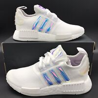Adidas NMD R1 White Iridescent Cloud White Silver Metallic Sneakers FY1263 Women