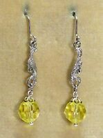 Vintage silver tone marcasite & yellow crystal earrings - match 1950s necklace