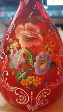Vintage Bohemian Italy RED Glass Czech Decanter With Hand Painted Gold Floral