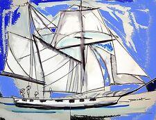 Tableau, peinture, contemporain, moderne,voilier, bleu, Escale à Sète