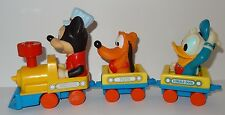 Engineer Mickey Mouse Train 1980's Pluto Donald Duck Wind-Up Toy - Not Working