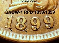 1899 Indian Head Cent - BEAUTIFUL SNOW-1, BOLD REPUNCHED DATE, Cleaned (J836)