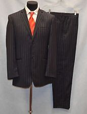 B6 Auth DOLCE & GABBANA Navy Wool Striped Two Button Blazer Pants Suit Sz It 50