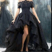 Black Lace Gothic High-Low Prom Dress Off Shoulder Wedding Party Evening Gown