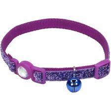 """COASTAL CAT PURPLE GLITTER W/ BELL 8-12"""" SAFETY COLLAR. FREE SHIPPING TO THE USA"""