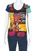 Desigual Womens Graphic Embroidered T Shirt Multi Color Size Small