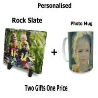 Personalised Photo Rock Slate  And Photo Mug