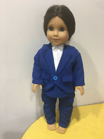 """Plumber Builder Costume Fits 15/"""" Bitty Baby Twins Doll Clothes Romper Top Hat"""