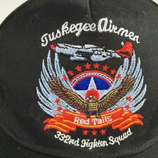 Tuskegee Airmen Red Tails 332nd Fighter Squad 15 Hat Cap Strapback Black Cotton