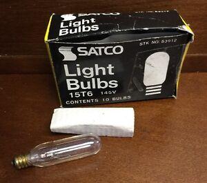 LOT OF 4 SATCO S3912 15T6 15W 145V CLEAR LIGHT BULB
