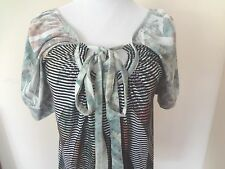 The Buckle Daytrip Abstract Print Artsy Boho Top Blouse Banded Bottom Shirt SzL