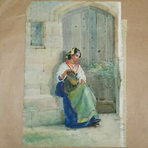 Watercolour on paper: peasant girl with tambourine. Victorian