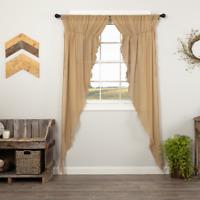 TOBACCO CLOTH Khaki Long Prairie Curtain Set Tan Cottage Farmhouse VHC Brands
