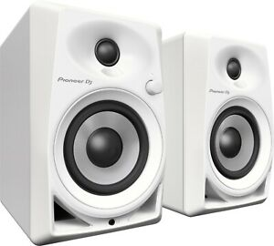 """Pioneer DJ DM-40 4"""" Active Monitor Speakers Pair, White DM40"""