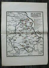 OPF A) Karte Bayern Oberpfalz Industrie 1928 Eisen Porzellan Papier Standorte ++