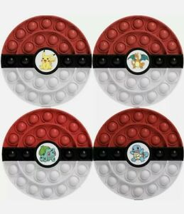 4 Popit Fidget Toy Sensory Stress Relief Pokemon Pokeball Pikachu