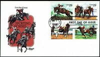 US 2759a Sporting Horses Block of 4 #2756-59 on 1993 Artmaster FDC F2759a-1