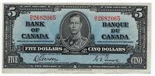 Bank of Canada 1937 $5 Five Dollars Gordon-Towers VF++ King George VI O/C Prefix