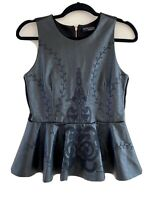 ZARA SIZE S Uk 8-10 FAUX LEATHER LOOK PEPLUM TOP - EMBROIDERED .BLOGGERS FAVE