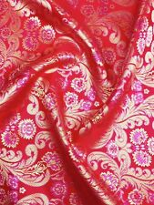 Brocade Chinese floral blossom oriental asian  Red / Gold / Pink Fabric