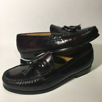 10 M Cole Haan Pinch Tassel Loafer Men's Burgundy Leather Shoes Slip On