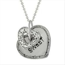 925 Silver CZ Heart & heart Tag 'Sweet' Pendant