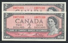 1954 CANADA 2 DOLLARS BANK NOTES CONSECUTIVE X2