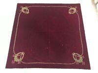 """VTG Alter Cloth Table Covering Burgundy Mohair Velvet 54"""" Sq Gold & Green Design"""