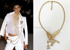 NIB VINTAGE SPECTACULAR CHANEL LARGE GOLD EAGLE CRYSTAL NECKLACE  01P