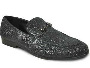 Glitter Solid Tuxedo Slip On Shoes