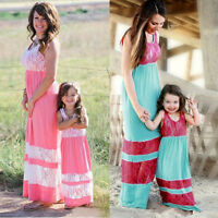Mother & Daughter Lace Stripe Stitching Dress Casual Family Clothes Women Dress
