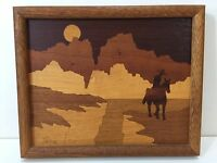 Vintage Western Cowboy Inlay Inlaid Wood Art, Signed by Artist, Framed