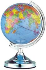 "13"" 32-cm Desk Top Bedroom Office World Globe Chrome Table Touch lamp New."