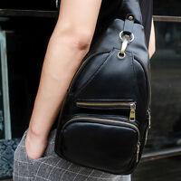 Men's Leather Sling Bag Backpack Shoulder Chest Bag Crossbody Bag Sports Riding