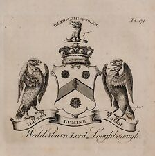 1779 ANTIQUE PRINT ~ WEDDERBURN ~ FAMILY CREST COAT OF ARMS LORD LOUGHBOROUGH