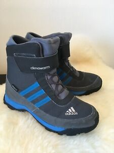 ADIDAS Boy's Gray/Blue Climawarm Traxion Boots Size US 4 ½ UK 4 FR 36 ⅔
