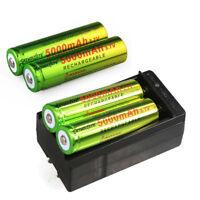 4PCS Skywolfeye 18650 Battery Rechargeable 3.7v 5000mAh Li-ion + 1x Charger USA