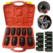 9pc Deep Impact Socket Set 12 Drive Metric Axle Hub Nut Socket 29 38mm With Case