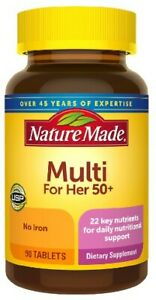 Nature Made Multivitamin For Her 50+ with No Iron 90 Tablets Exp 11/22