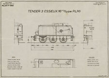 Tender 3 Essieux 16m3 Type PLM. Plan #1513. France railway drawing plan 1945