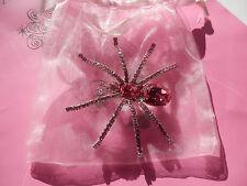 Tarina Tarantino Pink Swarovski Crystal Spider Pin