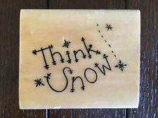 """Think Snow"" Wooden Rubber Stamp. Anita's brand."