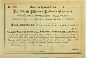 Norfolk and Western Railroad > Virginia stock scrip certificate N&W Southern