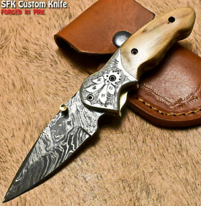 SFK Hand Forged Damascus Steel Olive Wood Hunting Folding Knife Liner Lock