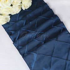 30x275cm Taffeta Pintuck Satin Table Runner Wedding Party Hotel Supply Navy Blue